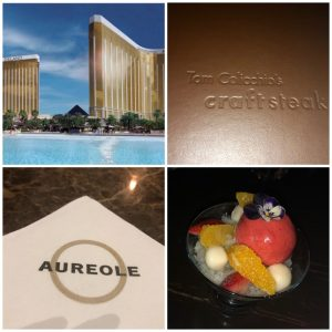 Delano Hotel and pool, Craftsteak menu and Aureole menu and a fancy dessert pictured in a photo collage